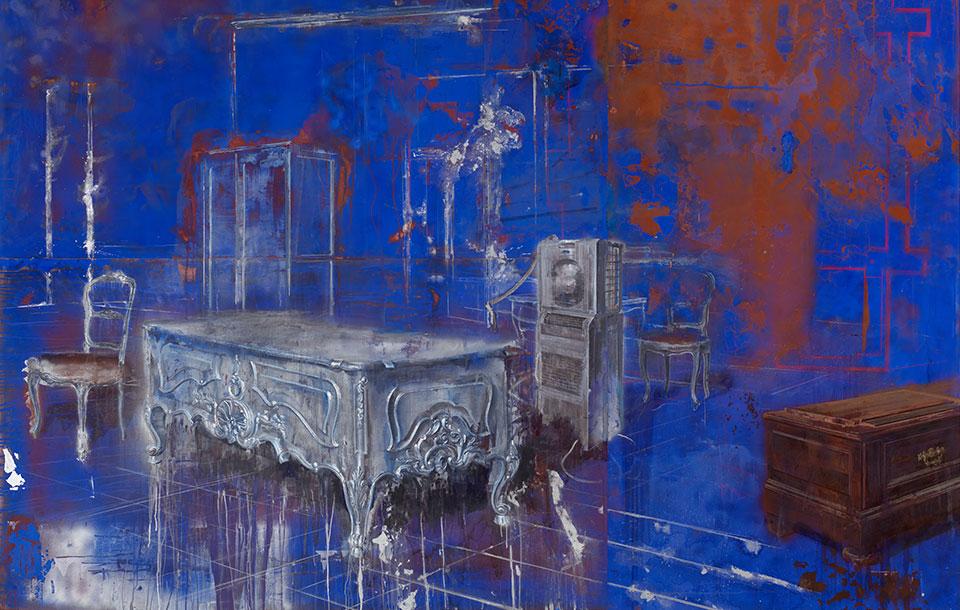 Julio-Vaquero-pintura-azul-rasgado
