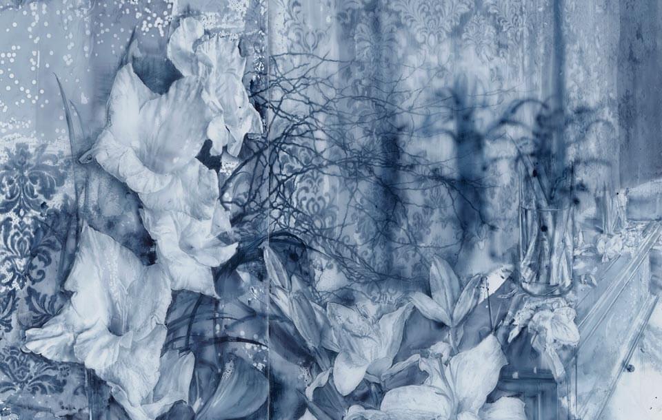 Julio Vaquero - 2019 - Extrañas Flores de silencio. Medidas - 202 x 198 cms
